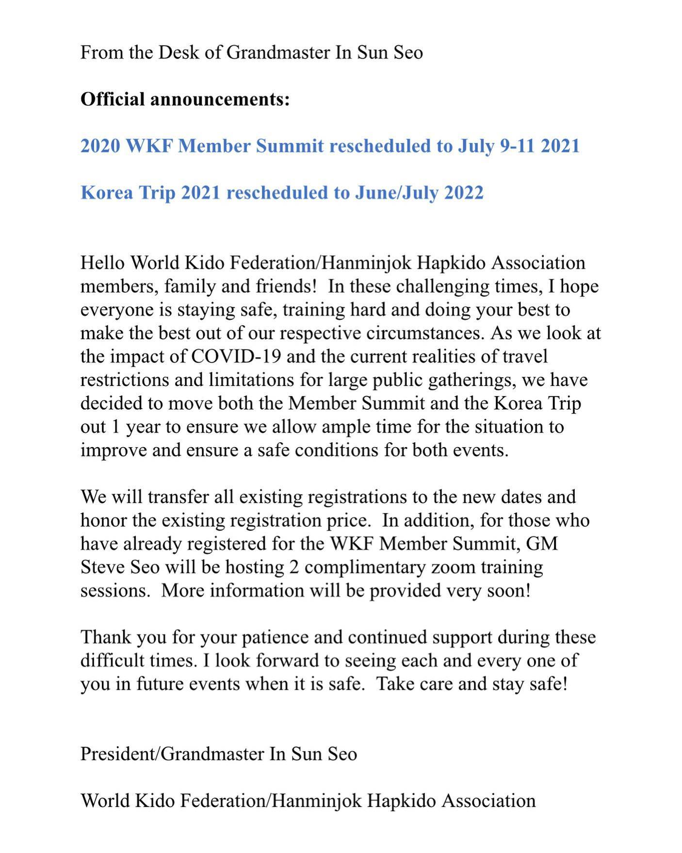 2020 WKF Summit